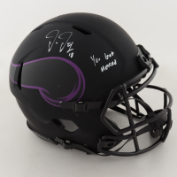 "Justin Jefferson Signed Vikings Full-Size Authentic On-Field Eclipse Alternate Helmet Inscribed ""You Got Mossed"" (Beckett COA) (See Description) at PristineAuction.com"