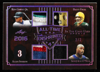 Ken Griffey Jr. / Allen Iverson / Brett Favre / Shaquille O'Neal 2019 ITG Used Sports All Time Enshrined Quad Memorabilia Silver Spectrum #ATE401 at PristineAuction.com