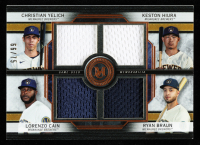 Lorenzo Cain / Keston Hiura / Christian Yelich / Ryan Braun 2020 Topps Museum Collection Primary Pieces Four Player Quad Relics Copper #FPRYHCB at PristineAuction.com