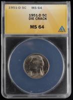 1951-D Jefferson Nickel - Die Crack Mint Error (ANACS MS64) at PristineAuction.com