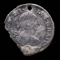 Spanish Colonial 1/2 Reale Silver Shipwreck Coin from the El Cazador at PristineAuction.com