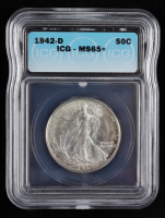1942-D Walking Liberty Silver Half Dollar (ICG MS65+) at PristineAuction.com