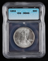 1943 Walking Liberty Silver Half Dollar (ICG MS66) at PristineAuction.com