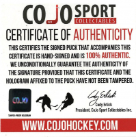 "Glenn Hall Signed Blackhawks Logo Hockey Puck Inscribed ""HOF / 75"" & ""Mr. Goalie"" (COJO COA) at PristineAuction.com"