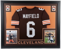 Baker Mayfield Signed 35x43 Custom Framed Jersey (Beckett COA) at PristineAuction.com