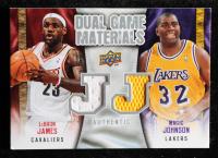 LeBron James / Magic Johnson 2009-10 Upper Deck Game Materials Dual #DGJJ at PristineAuction.com