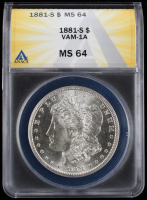 1881-S Morgan Silver Dollar - VAM-1A (ANACS MS64) at PristineAuction.com