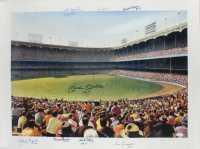 New York Yankees Stadium 21.75x29.5 LE Print Signed by (8) Including Mickey Mantle, Whitey Ford, Yogi Berra, Phil Rizzuto with (2) Inscriptions (JSA LOA) (See Description) at PristineAuction.com