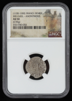 (1100-1300) France, Melgueil Anonymous AR Denier Medieval Silver Coin (NGC AU50) at PristineAuction.com