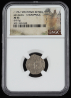 (1100-1300) France, Melgueil Anonymous AR Denier Medieval Silver Coin (NGC XF45) at PristineAuction.com
