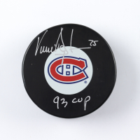 """Vincent Damphousse Signed Canadiens Logo Hockey Puck Inscribed """"93 Cup"""" (COJO COA) at PristineAuction.com"""