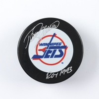 "Teemu Selanne Signed Jets Logo Hockey Puck Inscribed ""ROY 1993"" (COJO COA) at PristineAuction.com"
