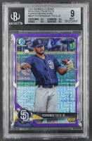 Fernando Tatis Jr. 2018 Bowman Chrome Mega Box Prospects Purple Refractors #BCP114 RC (BGS 9) at PristineAuction.com