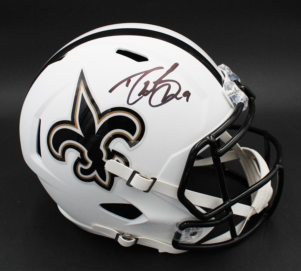 Drew Brees Signed Saints Full-Size Matte White Speed Helmet (Fanatics Hologram) at PristineAuction.com