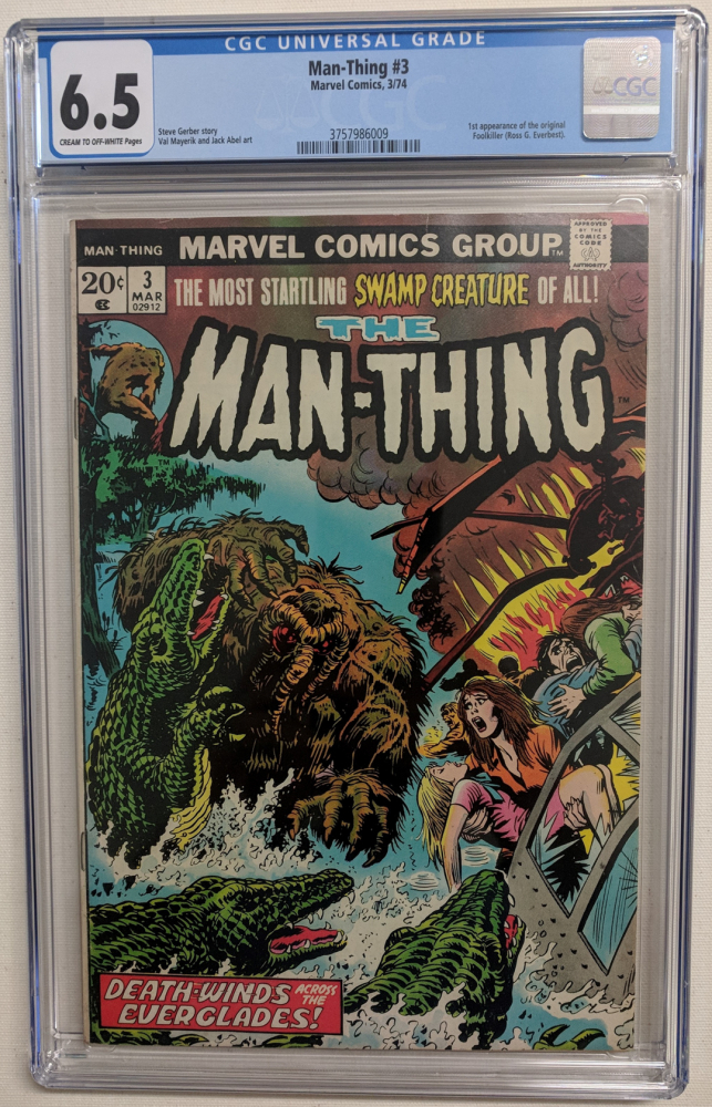 """1974 """"Man-Thing"""" Issue #3 Marvel Comic Book (CGC 6.5) at PristineAuction.com"""