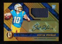 Justin Herbert 2020 Panini Gold Standard #203 Jersey Autograph at PristineAuction.com