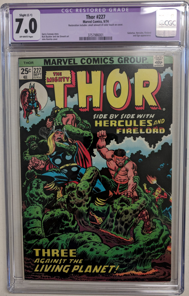 """1974 """"The Mighty Thor"""" Issue #227 Marvel Comic Book (CGC Restored 7.0) at PristineAuction.com"""