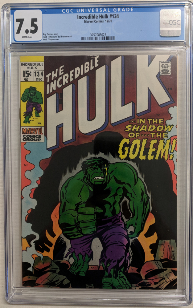 """1970 """"The Incredible Hulk"""" Issue #134 Marvel Comic Book (CGC 7.5) at PristineAuction.com"""