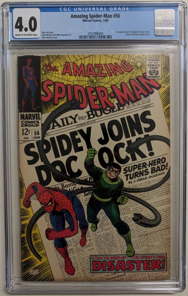 "1968 ""Amazing Spider-Man"" Issue #56 Marvel Comic Book (CGC 4.0) at PristineAuction.com"