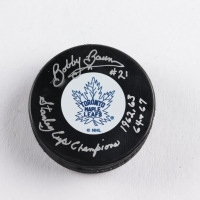 "Bobby Baun Signed Maple Leafs Logo Hockey Puck Inscribed ""Stanley Cup Champions 1962, 63, 64 & 67"" (COJO COA) at PristineAuction.com"