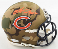 "Mike Singletary Signed Bears Camo Alternate Speed Mini Helmet Inscribed ""HOF 98"" (Beckett COA) at PristineAuction.com"