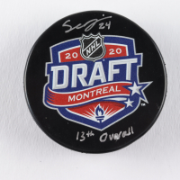 "Seth Jarvis Signed 2020 NHL Draft Logo Hockey Puck Inscribed ""13th Overall"" (COJO COA) at PristineAuction.com"