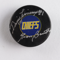 "Yvon Barrette Signed ""Slap Shot"" Chiefs Logo Hockey Puck Inscribed ""Denis Lemieux"" (COJO COA) at PristineAuction.com"