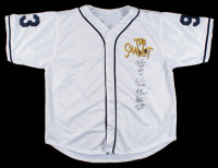 Baseball Jersey Cast-Signed by (6) with Tom Guiry, Chauncey Leopardi, Marty York, Shane Obedzinski, Victor DiMattia & Brandon Adams With Multiple Inscriptions (Beckett COA) at PristineAuction.com