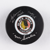 "Glenn Hall Signed Blackhawks Logo Hockey Puck Inscribed ""HOF / 75"" & ""Mr. Goalie"" (COJO COA) at PristineAuction.com"