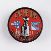 """Sergei Zubov Signed Rangers Logo Hockey Puck Inscribed """"91-92 Cup"""" (COJO COA) at PristineAuction.com"""