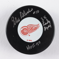 """Alex Delvecchio Signed Red Wings Logo Hockey Puck Inscribed """"HOF 77"""" & """"3X Lady Byng"""" (COJO COA) at PristineAuction.com"""