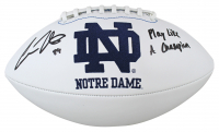 """Cole Kmet Signed Notre Dame Fighting Irish Logo Football Inscribed """"Play Like A Champion"""" (Beckett Hologram) at PristineAuction.com"""