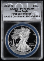 2014-W American Silver Eagle $1 One-Dollar Coin - First Day of Issue, Black Eagle Label (ANACS PR70 Deep Cameo) at PristineAuction.com