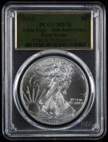 2016 American Silver Eagle $1 One-Dollar Coin First Strike - 30th Anniversary, Gold Foil Label (PCGS MS70) at PristineAuction.com