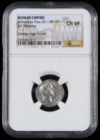 Antoninus Pius A.D. 138-161 Roman Empire AR Denarius Ancient Silver Coin - Golden Age Hoard (NGC Ch VF) at PristineAuction.com