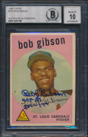 "Bob Gibson Signed 1959 Topps #514 RC Inscribed ""HOF 81"" & ""251-174"" (BGS Encapsulated) at PristineAuction.com"