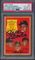 Mickey Mantle Signed 1962 Topps #53 AL Home Run Leaders (PSA 4) at PristineAuction.com