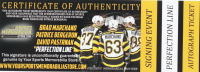 """Set of (3) Signed """"The Perfect Line"""" Bruins 2019 Stanley Cup Final Hockey Pucks with Brad Marchand, Patrice Bergeron & David Pastrnak (Bergeron, Marchand & Pastrnak COA) at PristineAuction.com"""