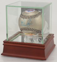 Nolan Ryan Signed Mets Logo Baseball with High Quality Photo Display Case (PSA COA) at PristineAuction.com