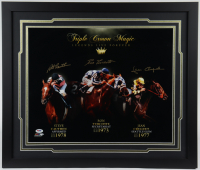 Ron Turcotte, Steve Cauthen & Jean Cruget Signed 22x26 Custom Framed Photo Display (PSA COA) at PristineAuction.com