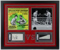 George Foreman & Muhammad Ali Signed 22x26 Custom Framed Cut Display (PSA Encapsulated) at PristineAuction.com