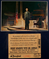 """Disneyland's """"Great Moments With Mr. Lincoln"""" 11x19 Custom Matted Vintage Souvenir Booklet Display with Original Vintage Disneyland Lincoln Ticket & Vintage Souvenir Postcard at PristineAuction.com"""