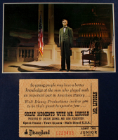 """Disneyland's """"Great Moments With Mr. Lincoln"""" 11x19 Custom Framed Vintage Souvenir Booklet Display with Original Vintage Disneyland Lincoln Ticket & Vintage Souvenir Postcard at PristineAuction.com"""