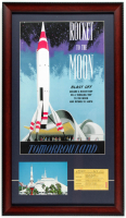 "Disneyland ""Rocket To The Moon"" 15x26 Custom Framed Print Display with Vintage Ticket & Souvenir Postcard at PristineAuction.com"