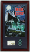Disneyland 15x26 Custom Framed Print Display with Tokyo Disneyland Ticket Book Cover & Haunted Mansion Emblem at PristineAuction.com