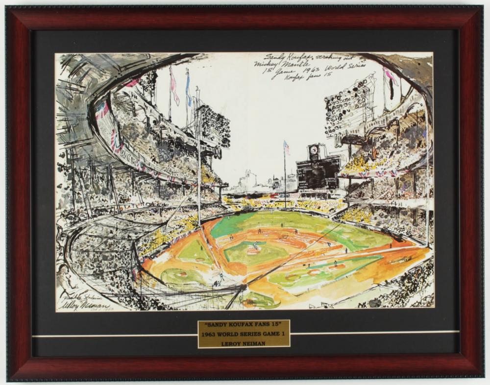 "LeRoy Neiman ""Sandy Koufax Fans 15"" 18x23 Custom Framed Print Display at PristineAuction.com"