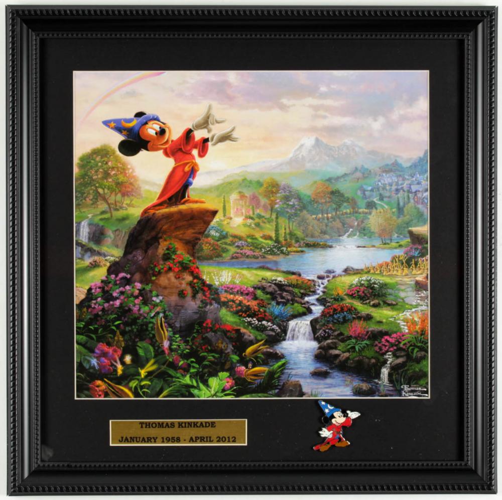 "Thomas Kinkade Walt Disney's ""Mickey Mouse: Sorcerer's Apprentice"" 16x16 Custom Framed Print Display with Sorcerer's Apprentice Metal Lapel Pin at PristineAuction.com"