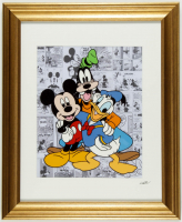 Walt Disney's Mickey Mouse, Goofy & Donald Duck 13x16 Custom Framed Hand-Painted Animation Serigraph Cel Display at PristineAuction.com