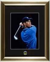 Tiger Woods 2005 Masters 13x16 Custom Framed Photo Display with Official Champions Lapel Pin at PristineAuction.com