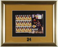 2004 Kobe Bryant LE Lakers 13x16 Custom Framed Uncut Postage Stamp Sheet Display With (12) Stamps & #24 Jersey Pin at PristineAuction.com